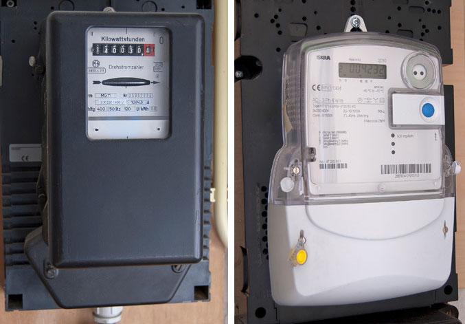 De traditionele draaischijfmeter (links) en de slimme energiemeter (rechts).